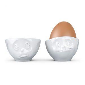 Äggkoppar med ansikte (2-pack), Tjurande och Mumsande