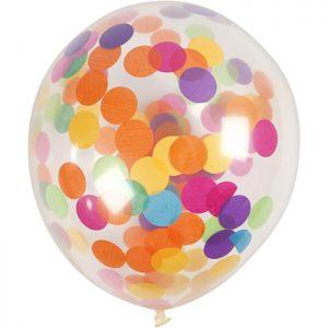 Ballonger med konfetti 23 cm 4 st