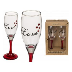 Champagneglas Love med Hjärtan - 2-pack