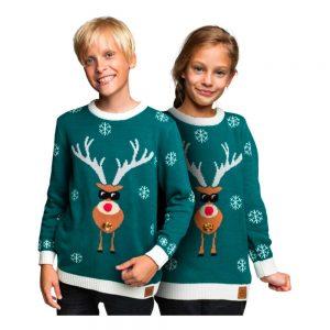 Make It Rein Grön Jultröja för Barn - Small