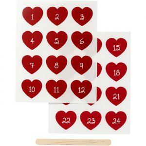 Rub-on stickers kalendersiffror (Röd)