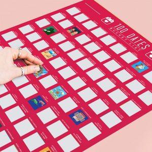 Skrapaffisch - 100 dates, Scratch Off Bucket List, Röd